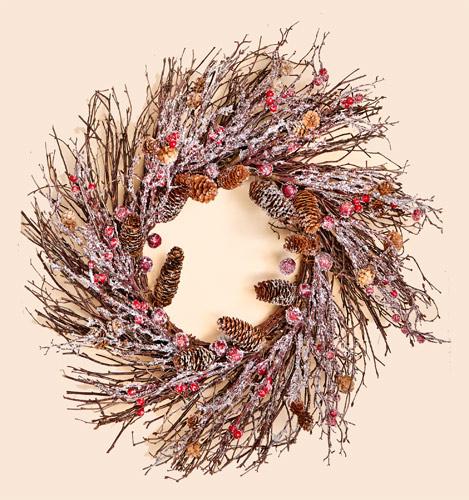 "26"" Wild Twig Wreath w/ Cones, Pods & Snowy Branches"