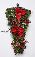 "28"" SPRUCE POINSETTIA BERRY TEARDROP"