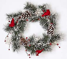 "22"" SNOWY PINE WREATH W/CARDINALS & SNOWFLAKES ON NATURAL TWIG BASE"