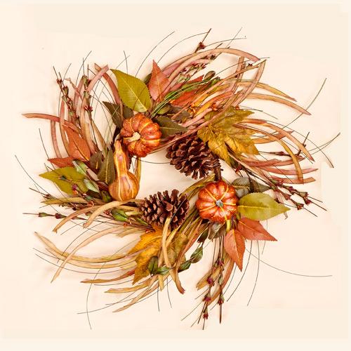 """18"""" Gourd Leaf & Grass Wreath"""