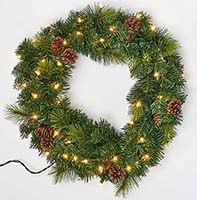 "22"" LIGHTED PINE & CONE WREATH"