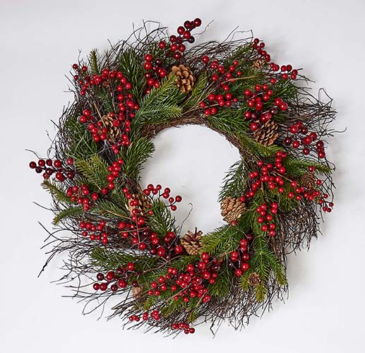 "25"" MIXED PINE BERRY CONE WREATH"