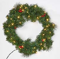 "24"" PINE WREATH WITH LIGHTS AND BERRIES - CLOSE OUT"