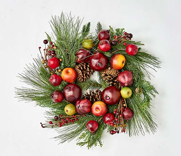"""23"""" PINE WREATH W/FRUIT ON NATURAL TWIG BASE"""
