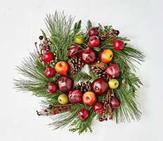 "23"" PINE WREATH W/FRUIT ON NATURAL TWIG BASE"
