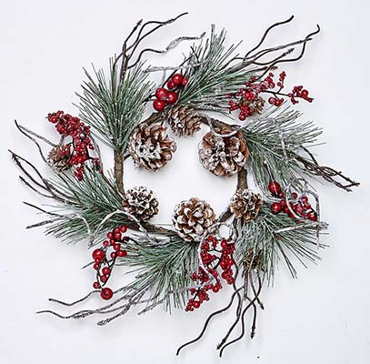 "4.25"" FROSTED PINE CANDLE RING W/TWIGS & BERRY"