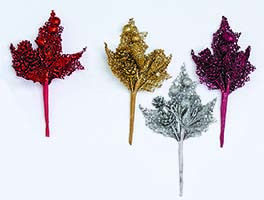 "7"" MINI GLITTER LEAF & CONE PICK"