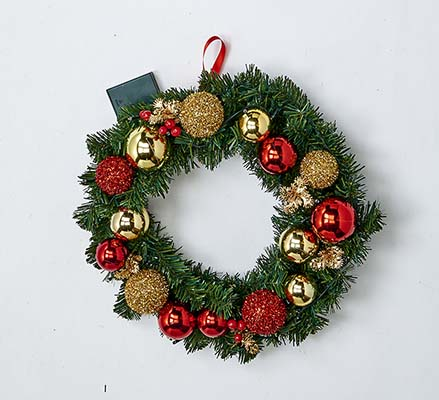 """18"""" 20 LIGHT DECORATED WREATH WITH TIMER"""
