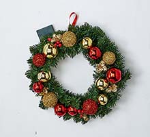 "18"" 20 LIGHT DECORATED WREATH WITH TIMER CLOSE OUT"