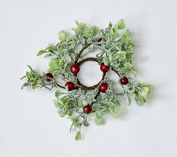 """1.25"""" GREEN LEAVES AND RED BERRIES CANDLE RING"""