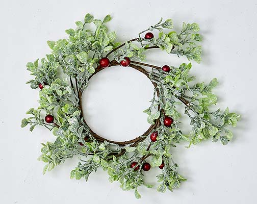 """3.25"""" GREEN LEAVES AND RED BERRIES CANDLE RING"""