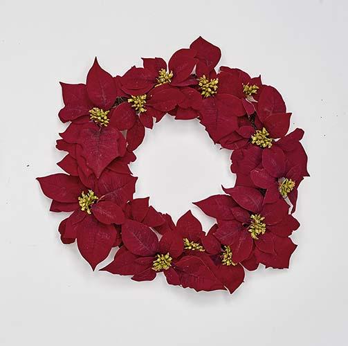 "20"" Poinsettia Wreath on Natural Twig Base"