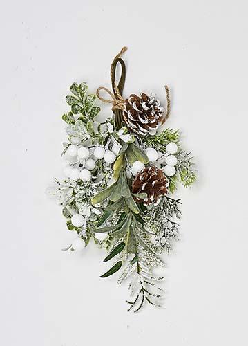 "12"" Pine Cone Berry & Mistletoe Mini Teardrop"