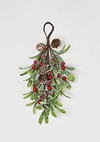 "12"" Red Berries & Mistletoe Mini Teardrop w/ Pine Cones"