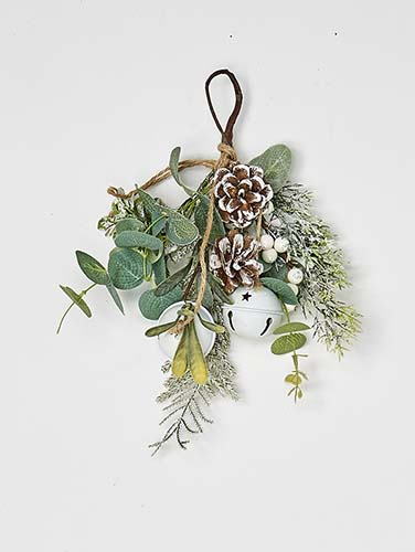 "11"" White Berries Pine Cone & Green Leaves Mini Teardrop w/ Bells"