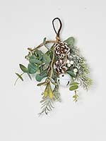 "11"" White Berries Pine Cone & Green Leaves Mini Teardrop w/ Bells"