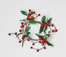 "3.5"" Red Berries & Leaves Candle Ring"