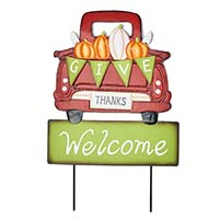 "22"" Metal Give Thanks Welcome Truck Sign"