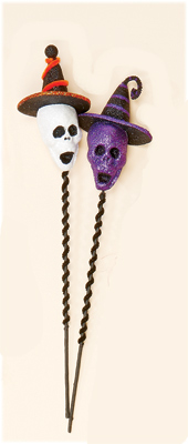 "17"" Skull Head On Stick with Hat"