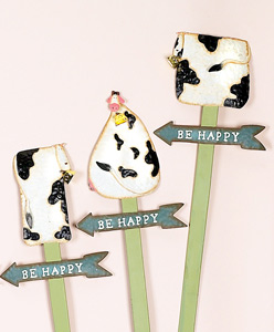 "34"" Whimsical Tin Cow w/Bell Stake- CLOSE OUT"