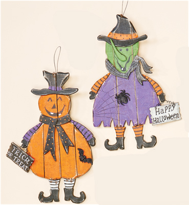 "16"" Hanging Wooden Pumpkin & Witch"