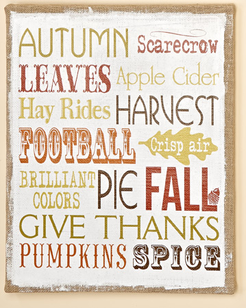 "20"" X 16"" Fall Theme Sign"