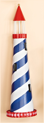 "16"" Striped Metal Light House"
