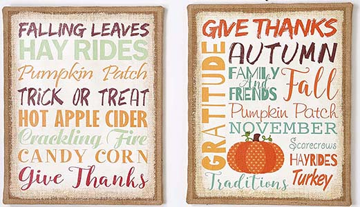 "20"" X 16"" Canvas Autumn Sign"