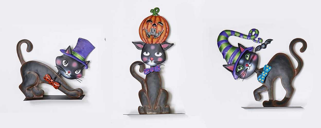 """7""""-14"""" Metal Halloween Black Cat"""