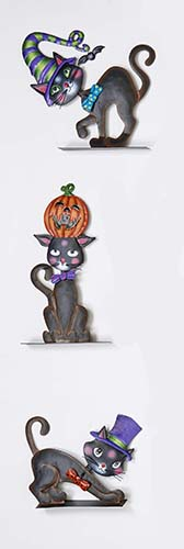 """7""""-14"""" METAL HALLOWEEN CAT"""