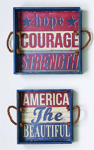 "AMERICANA WOOD TRAY SIGNS, SET OF 2, 13"",11"""