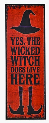 "24"" WICKED WITCH WOOD SIGN"