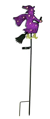 "40"" METAL WITCH STAKE WITH SOLAR 10 LIGHTS"