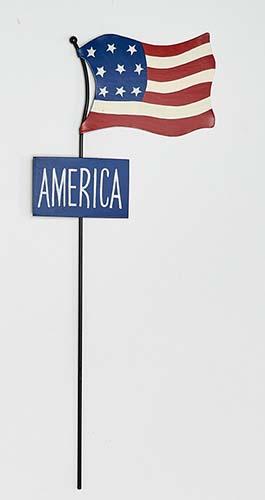 "18"" METAL AMERICANA FLAG STAKE WITH SIGN"