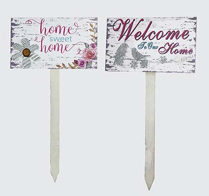 """30"""" WELCOME & HOME SWEET HOME GARDEN STAKES, 2 ASST"""