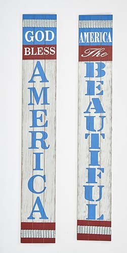 """29"""" GOD BLESS AMERICA, AMERICA THE BEAUTIFUL SIGNS, 2 ASST"""