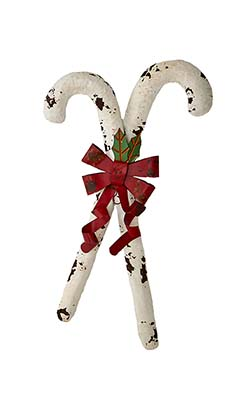 "23"" METAL CANDY CANES WITH BOW"