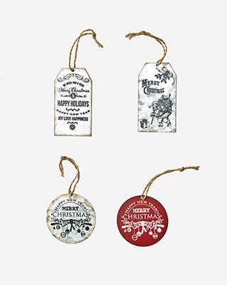 GALVANIZED METAL CHRISTMAS ORNAMENTS, 4 ASST
