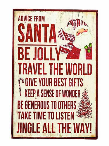 "18""X12"" SANTA  ADVICE WOOD SIGN"