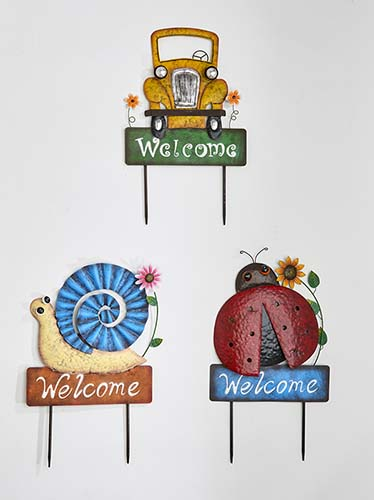 """23"""" Truck, Snail & Ladybug Welcome Sign/Stake, 3 Asst"""