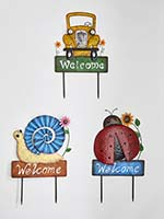 "23"" Truck, Snail & Ladybug Welcome Sign/Stake, 3 Asst"
