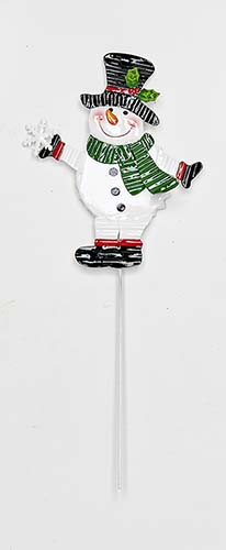 "12"" Metal Snowman on Stake"