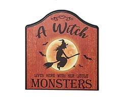 "13"" Witch w/ Little Monsters Wooden Sign"