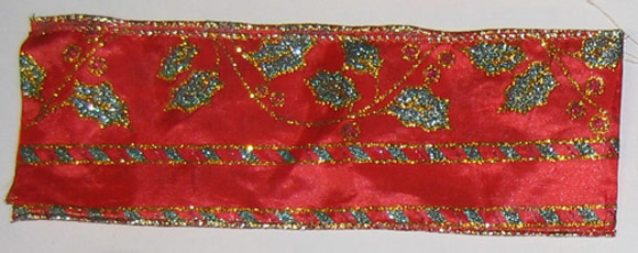 Red Glitter Leaf with Gold & Stripe Wire, #40