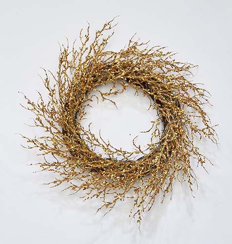 "22"" Glitter Coral Twig Wreath, Gold"