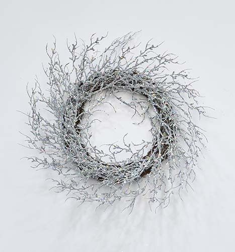 "22"" Glitter Coral Twig Wreath, Silver"