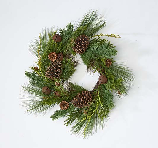 """22"""" Pine Cone Rusty Bell And Pine Needle Wreath"""