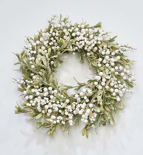 """24"""" White Berries And Green Leave Wreath"""