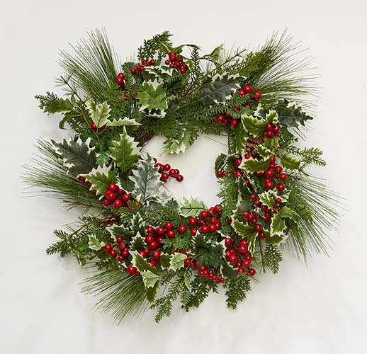 """22"""" Variegated Holly Pine Berry Wreath"""