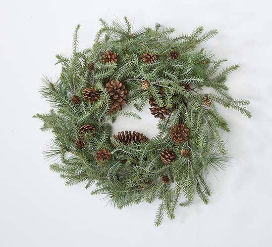 "22"" Hemlock And Pine Cone Wreath"